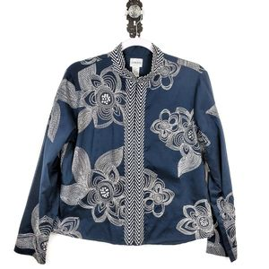 CHICOS Floral Embroidered Cotton Jacket 1 Medium